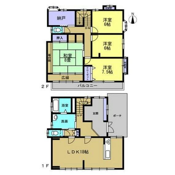 間取り図 【リフォーム後間取り図】2階に4部屋と納戸、トイレのある4SLDKの間取り。浴室は1.25坪、洗面脱衣室が3帖と広々した間取りなので、家族でゆったり過ごせそうですね。