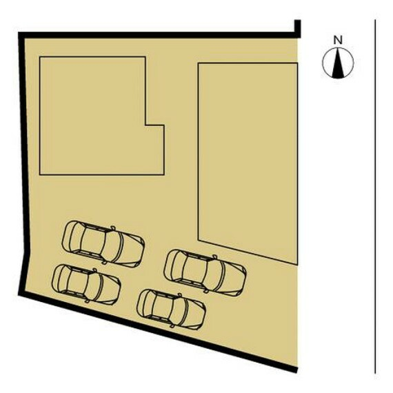 区画図 【敷地図】敷地南東側からお車の出入りができます。間口が5mなので、普通車とコンパクトカーもしくは軽自動車ならラクラク並列駐車可能です。玄関は建物北東側となります。