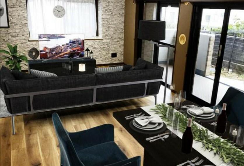 居間・リビング 【バーチャールホームステージングによるCG家具配置イメージです】くつろぎを愉しむリビングルームはひそやかな憩いの場となります。