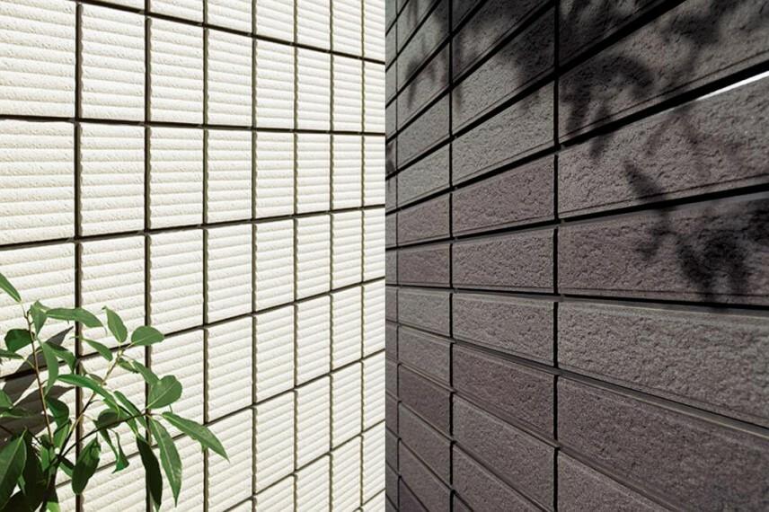 参考プラン完成予想図 タイル外壁 1.塗り替えがずっと不要な外壁。 2.存在感のある質感がいつまでも続く外壁材。 ※1.目地部材の交換は必要です。
