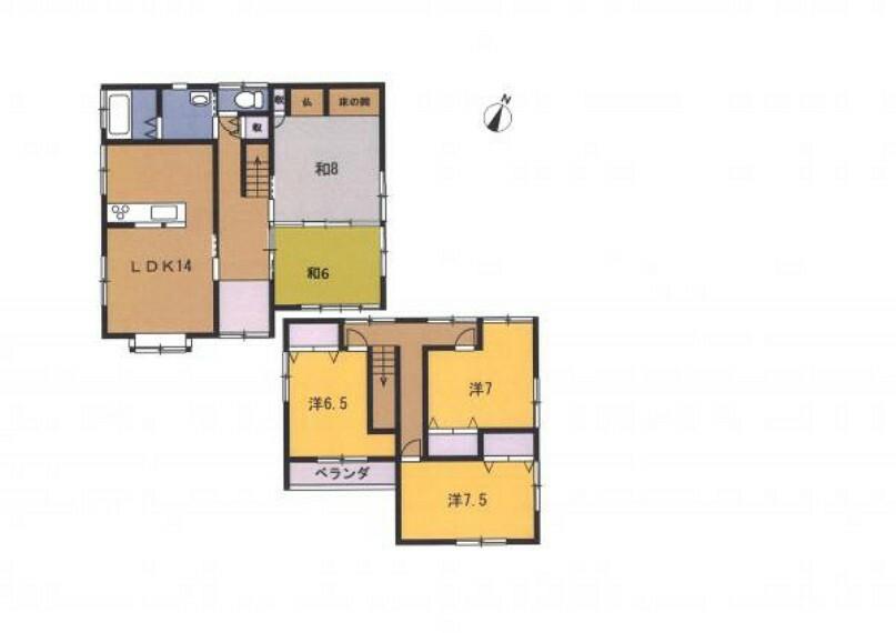 間取り図 リフォーム後の間取り図です。リビングは対面キッチンに、2階の和室は、洋室にリフォームします。