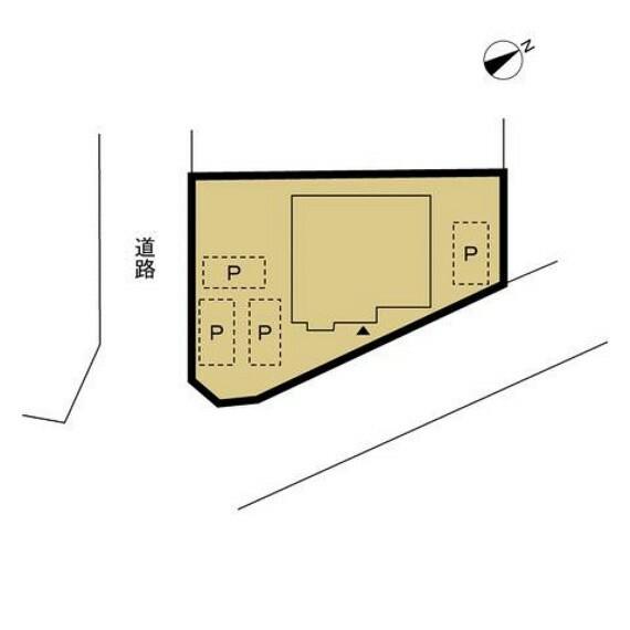 区画図 樹木を撤去し、駐車スペースを確保しました。普通車4台が駐車可能になりました。