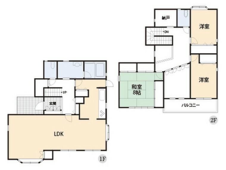 間取り図 全居室二面採光の明るいお住まいです。
