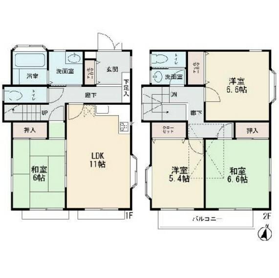 間取り図 2階建ての4LDK 南向きのワイドバルコニー 屋根裏収納付き お庭有り カースペース2台可