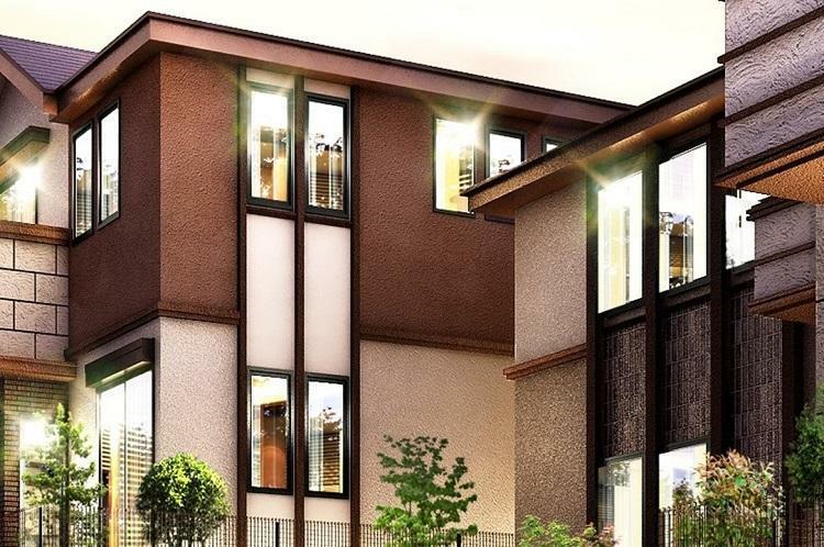 完成予想図(外観) 建物デザイン 垂直ラインを際立たせ、悠々とした邸宅の表情を創り出す連窓をリズミカルに配列。夜景に浮かぶ窓の灯と照らしだされる外壁の陰影が美しいコントラストを生み出します。