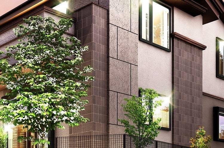 完成予想図(外観) 建物デザイン 装飾性を際立たせるタイル仕上げにより、邸宅に深みと重厚感を与えます。