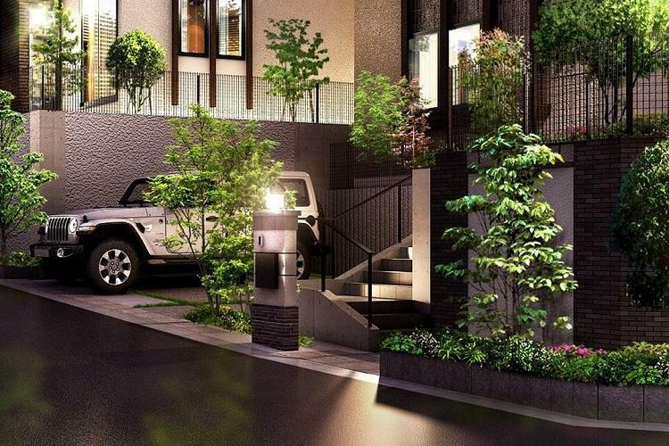 完成予想図(外観) 外構計画 塗り壁の温かみのある質感と重厚で存在感のあるオリジナルデザイン門柱。