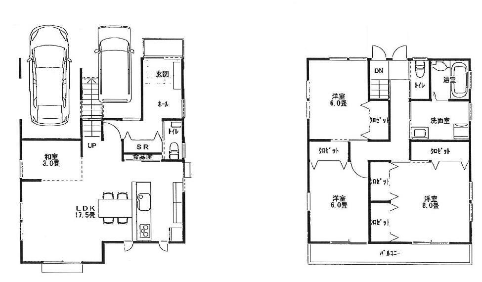 参考プラン間取り図 1階 17.5LDK 3和室 2階 6帖 6帖 8帖 洋室