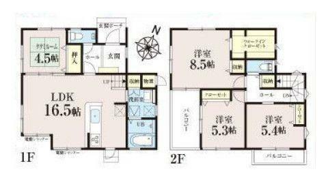 間取り図 B8号棟 主寝室8.5帖&物置スペース