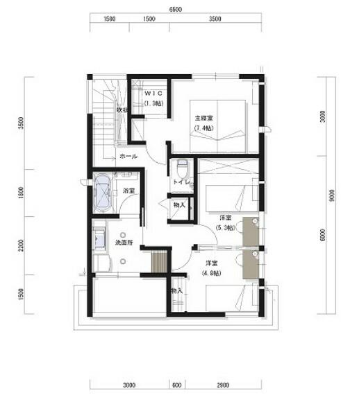 間取り図 2階に水回りを集約することで家事導線を短くしています。