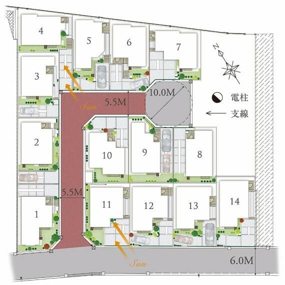 区画図 【南ひな壇の陽光降り注ぐ美しい街並み】  高低差を活かした、南ひな壇の陽光溢れる配棟計画。明るい自然光が降り注ぎ、心地よさが街の中に広がります。また、街区の奥側にはクルドサックを設け住人同士のコミュニケーションも図れます。
