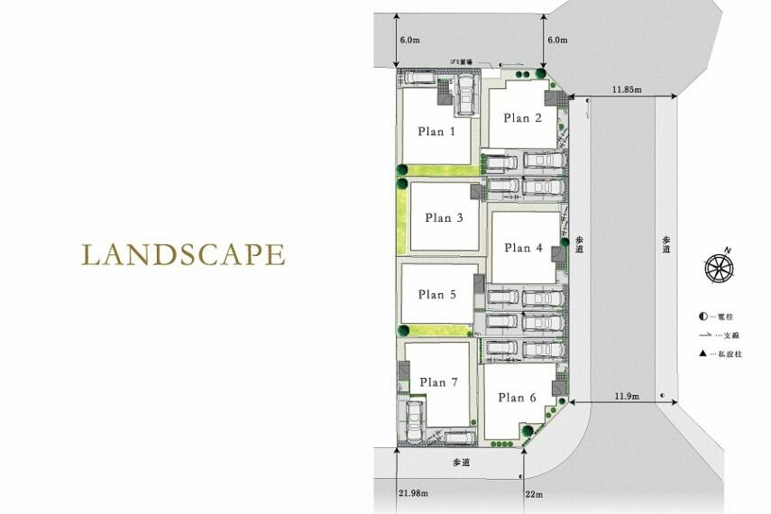 区画図 全体区画図  前面道路からの広がりを暮らしに撮り込む区画計画。
