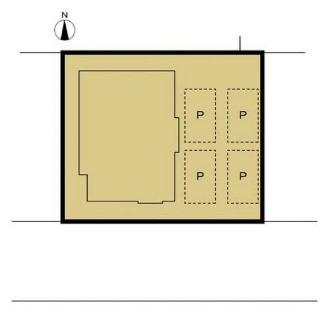 区画図 【リフォーム済】既存の花壇を撤去して普通車4台分の駐車スペースを確保しました。