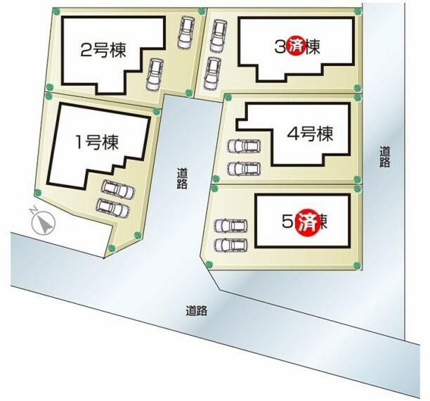区画図 播磨町二子 全5邸 区画図