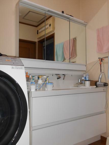 洗面化粧台 広い洗面・脱衣室、3面鏡付シャワー付洗面化粧台