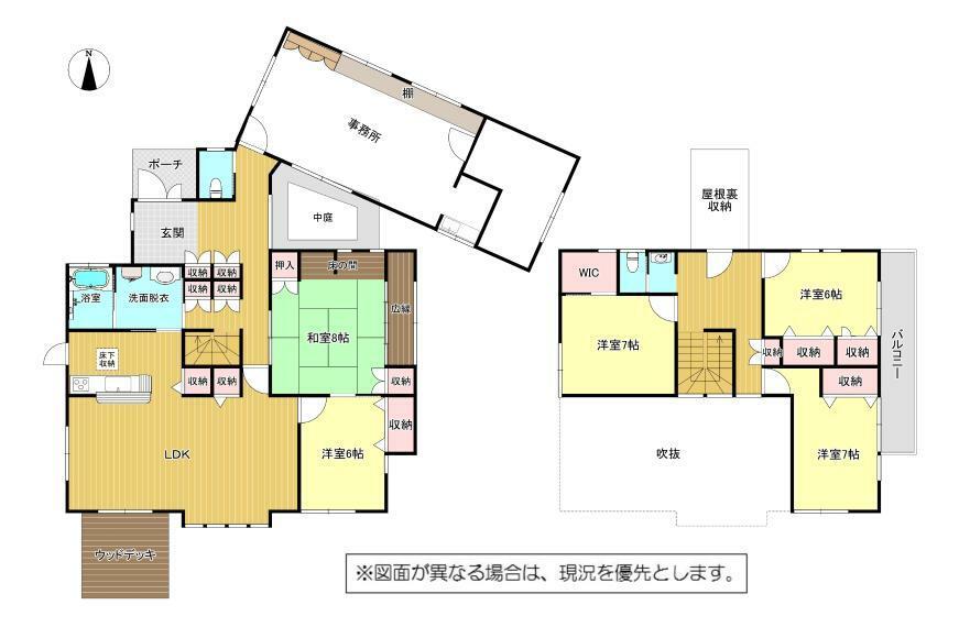 間取り図 5LDK+WIC+屋根裏収納+事務所スペース付
