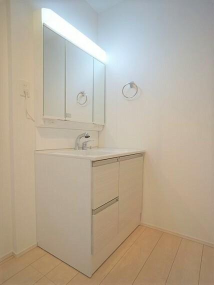 洗面化粧台  収納タップリで、大きな洗面台 朝の支度もスムーズに 令和3年1月28撮影