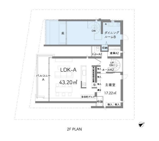 間取り図 ブルー部分は1~2階メゾネット住戸賃貸中