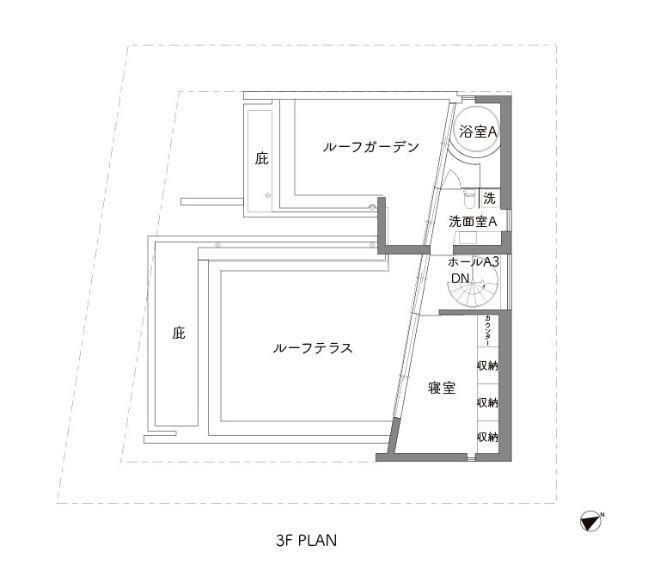 間取り図 ホワイト部分は2~3階所有者居住中(年内退去予定)