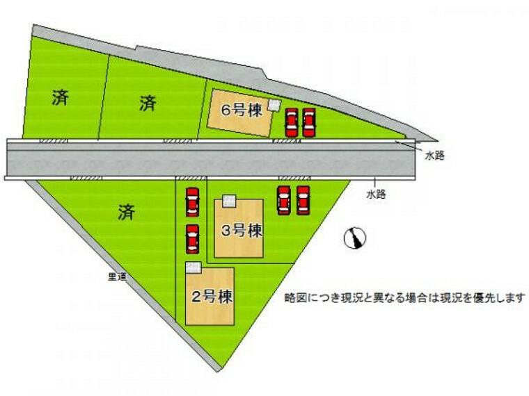 区画図 全邸駐車スペース2台分有り!
