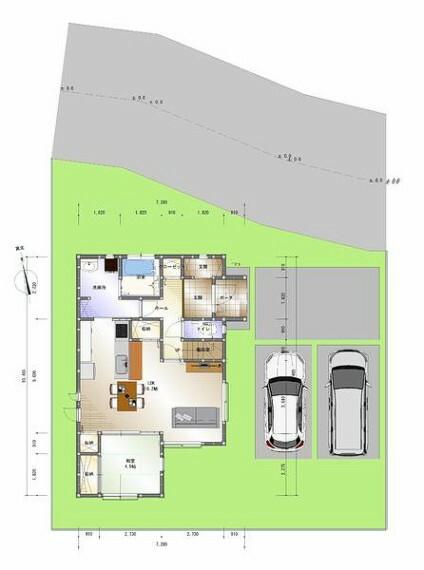 完成予想図(外観) 建物配置図
