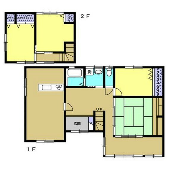 間取り図 一部間取り変更を行い、1階:LDK・6帖洋室・8畳和室、2階:6帖洋室・7帖洋室の4LDKに生まれ変わりました。