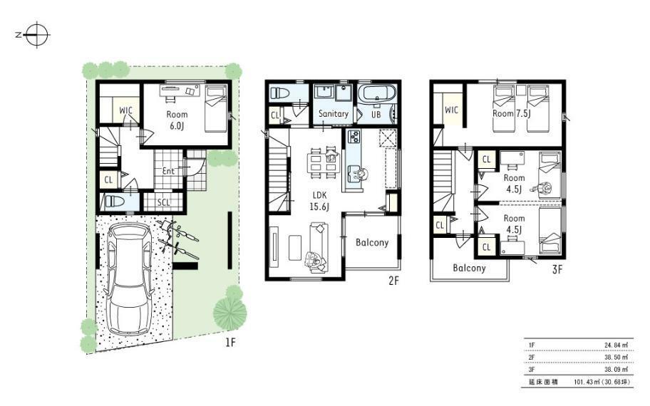 間取り図 2号地プラン■WICを1階と3階に完備したプラン。3階には廊下を上がればすぐに出れる、バルコニーを設けました。洗濯動線を考え、個人のプライベートな空間を通ることなく、布団や洗濯物の出し入れもラクラク。