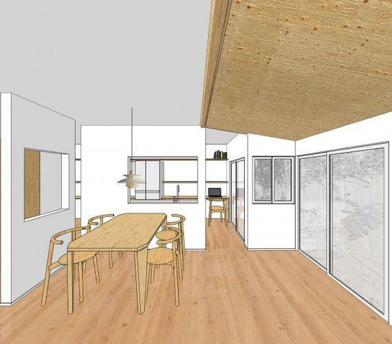 収納 内装についても既存の建物の良さを残しつつ、リノベーションを行う形でイメージパースを作成しました。