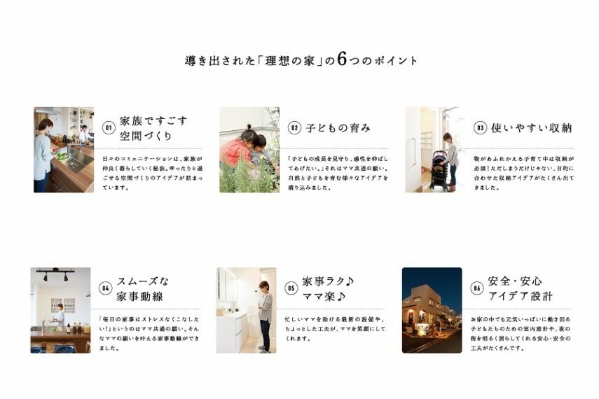導き出された「理想の家」の6つのポイント。  現役子育てママから導き出された6つのポイントを織り込み住みやすい理想の家が誕生。