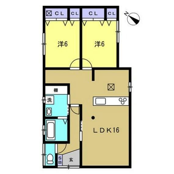 間取り図 【リフォーム後】2LDKの平家です。南側のLDKで日当たり良好です。