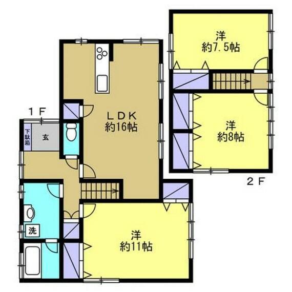 間取り図 【リフォーム後間取図】ご家族へおすすめの3LDKの間取りです。現代のニーズに合わせて、和室を全て洋室へとリフォーム致します。浴室も人気の1坪サイズです。