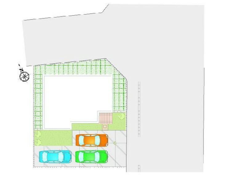 区画図 配置図・・・3台駐車可能。お友達が遊びに来ても安心ですね。