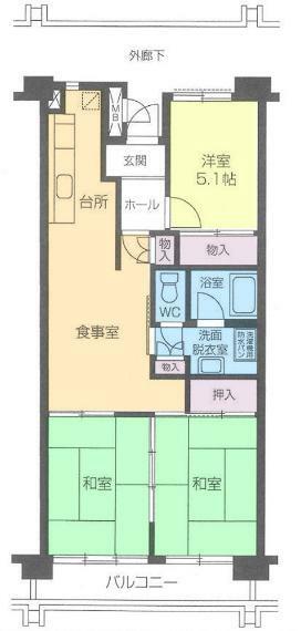 間取り図 居室3部屋の3LDKです。新規リノベーション済につき室内綺麗です。