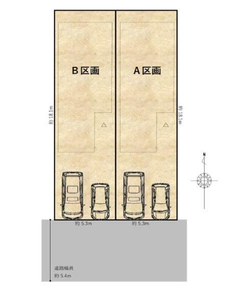 区画図 全体配置図/南向きの2邸。駐車スペース2台あり。