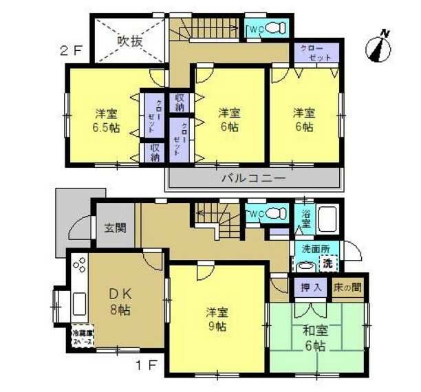 間取り図 【リフォーム済】全居室6帖以上の5DKの間取です。すべての居室が6帖以上、玄関の吹き抜けや1・2階に設置されたトイレなどが魅力の物件です。