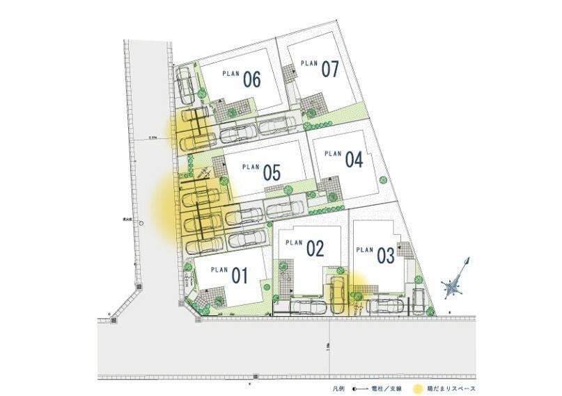 区画図 区画図  全邸敷地面積125平米以上のゆとり、カースペース3台対応の号棟もございます。