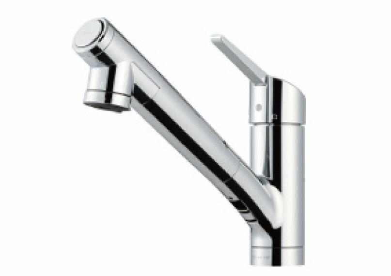 タカギみず工房クローレ  蛇口先端のボタンを押すだけで簡単に浄水/原水が切り替わります。さらに、レバーをスライドさせるとシャワー/ストレートが切り替わります。
