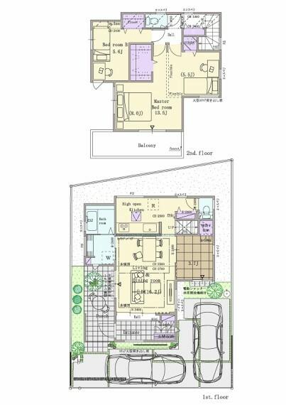 間取り図 2号棟  3LDK(4LDK対応可※有料オプション)+ウォークインクロゼット+シューズクローク  敷地面積:125.10平米(37.84坪) 建物面積:94.49平米(28.52坪) 1階面積:49.47平米(14.93坪) 2階面積:45.02平米(13.59坪)