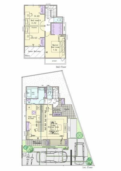 間取り図 3号棟  2LDK(3LDK対応可※有料オプション)+ヌック+ウォークインクロゼット+シューズクローク  敷地面積:125.10平米(37.84坪) 建物面積:98.95平米(28.12坪) 1階面積:50.51平米(15.25坪) 2階面積:48.44平米(12.87坪)