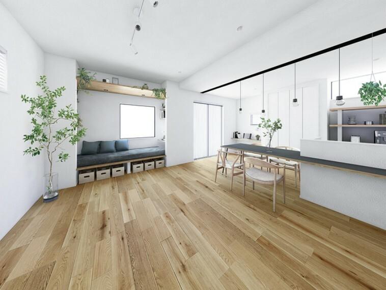 居間・リビング 白を基調としたスタイリッシュな室内デザイン  シンプルなデザインに広がる空間とアクセントとなる造作カウンターを楽しむ邸。