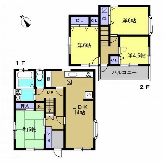 間取り図 【リフォーム後間取図】間取り変更を行い、3LDKから4LDKの間取りに変わりました。2階のお部屋は全て洋間に変更しました。