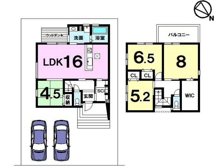 間取り図 JR栗東駅徒歩4分 ウッドデッキ オール電化 前道約7m 並列駐車2台可 大宝小学校徒歩4分