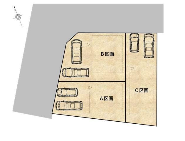 区画図 個性あふれる設計の全3区画。駅徒歩14分の立地ながら駐車場も2台確保しました。
