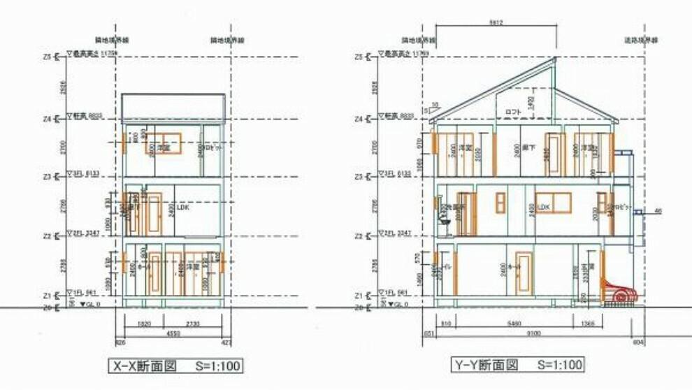 構造・工法・仕様 建物断面図