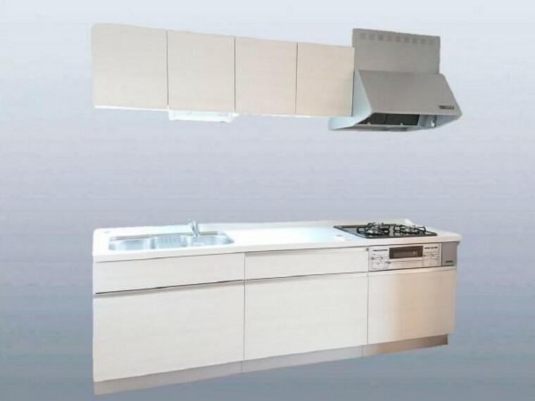 キッチン 【同仕様写真】キッチン写真。ハウステック製のキッチンに新品交換します。天板は人造大理石を採用。お手入れも楽々です。3口コンロなので保温用など使い分けできるのが便利ですね。