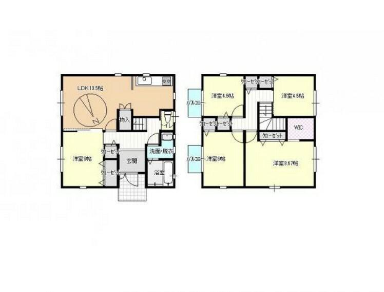 間取り図 【間取予定図】全ての和室を洋室に間取り変更します。