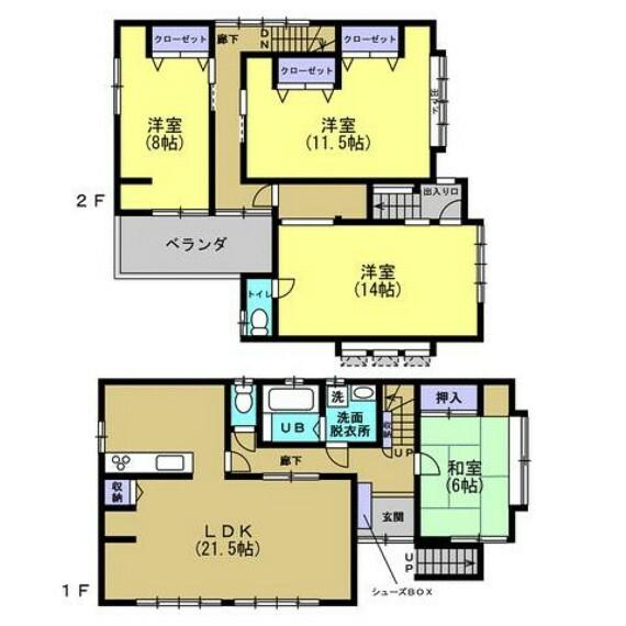 間取り図 【間取図】7DKの間取りから、4LDKに間取り変更しました。ゆったりしたお部屋でご家族の距離が近くなりますね。2階の洋室14帖は以前店舗として利用されていたお部屋を居室にしました。事務所・店舗としてのご利用や在宅ワークやお子様のプレイルームとしてもおススメです。