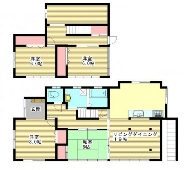 間取り図 【間取図】RF後予定の間取です。4~5人家族におすすめの4LDK+納戸のおうちです。家族全員のプライベートを確保できる部屋数です。