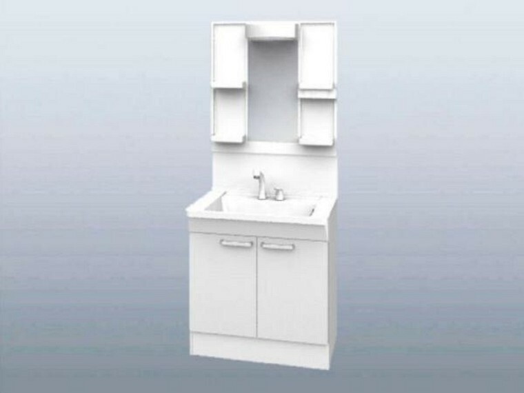 洗面化粧台 【同仕様写真】新品交換する洗面化粧台の水栓は、お湯と水をきちんと使い分けられるエコシングル水栓です。お湯のムダづかいを防ぐので、ガス代も節約。家計に優しい設計です。