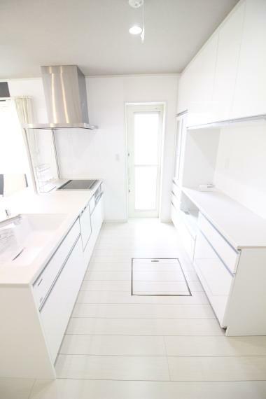 キッチン 【タカラ製ワイドオープンシステムキッチン】 ビルトイン食器洗い乾燥機、IH、大型家電食器収納付